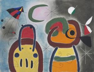 Christies L'oiseau au plumage déployé vole vers l'arbre argenté, 1953 by Joan Miró...
