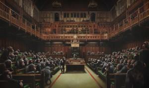 Banksy y su Parlamento simiesco