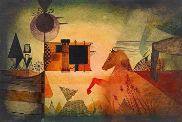 Antoni Tàpies, Caballos, barca y personajes. Galería Jorge Alcolea