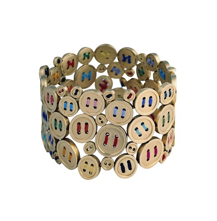 Chus Bures. Buttons Mae Nam Collection. Bracelet Silk and Gold