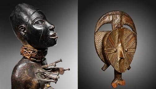 Fetiche Nkisi, Bernard Dulon (izqda), Relicario Kota, Dalton Somaré (dcha)