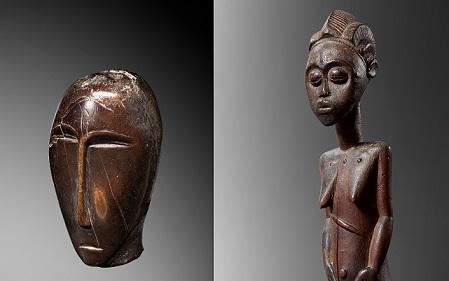 Cabeza esculpida, Okvik, Julien Flak (izqda); Estatua Baule (detalle), Montagut Gallery (dcha)