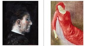 Miguel Macaya, Personaje de perfil. Montserrat Gudiol, Mujer vestida de rojo.